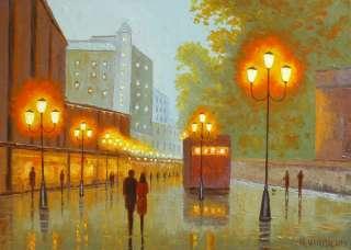 Virbickas art original oil painting ROMANTIC CITY