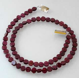 EXCELLENT RED GARNET FACETED COINS BEADS SILVER ARTISAN NECKLACE 18