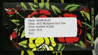 ED Hardy Womens Surf Tribe Shark Rose Black T Shirt M