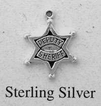 Sterling Silver Deputy Sheriff Badge Charm, New