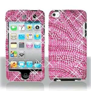 Ipod Touch 4 4G Full Diamond Hot Pink Pink Zebra Case