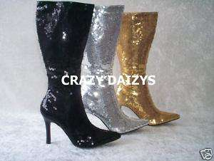 WOMENS SEQUIN KNEE HI BOOTS HALLOWEEN FOOTWEAR 6 12