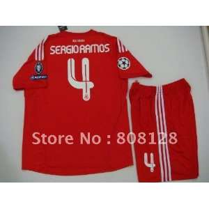 sergio ramos #4 uniforms real madrid away red champions