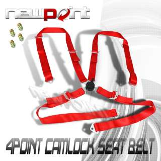 RED 4 POINT 2 STRAP RACING CAMLOCK SEAT BELT HARNESS