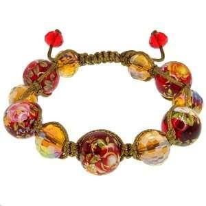 Flower Murano Glass & Crystal Beads On Cotton Rope Adjustable Bracelet