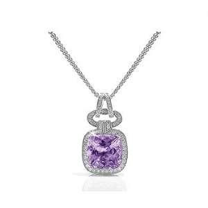 1.88 Ct Purple Amethyst & VS Diamond Oval 18k Gold Pendant