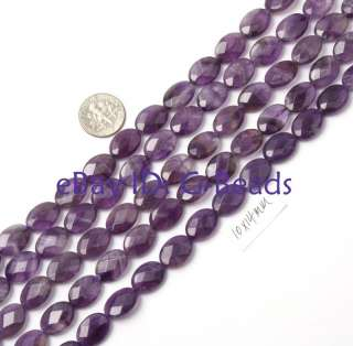 10x14mm oval faceted purple amethyst bead strand 15