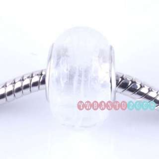 20x White Clear Murano Lampwork Glass Charms Beads Fit Bracelet P0541