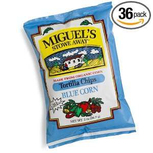 Miguels Stowe Way Blue Corn Tortilla Chips, 2 Ounce Bags (Pack of 36