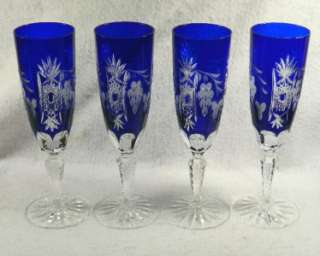 Set 4 Cut to Clear Crystal CHAMPAGNE FLUTES Sapphire Blue