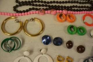 SAS Large Lot Of Vintage Costume Jewelry Clip On Earrings Necklaces