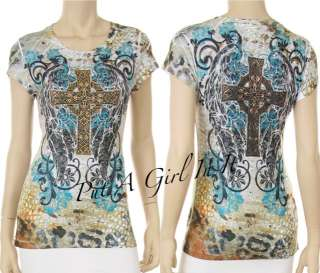 SARA MODE CRYSTAL CROSS WINGS SUBLIMATION TEE SEXY