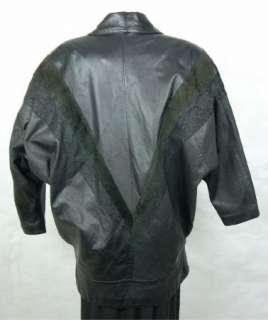 Vintage IOU CUIR CLASSIQUE Womens Ladies Black LEATHER Coat Jacket