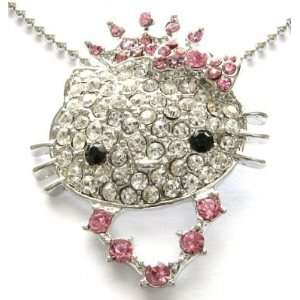 Princess Kitty Pink Crystal Crown Necklace Pendant