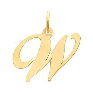Fancy Cursive Letter W Charm 14K Gold
