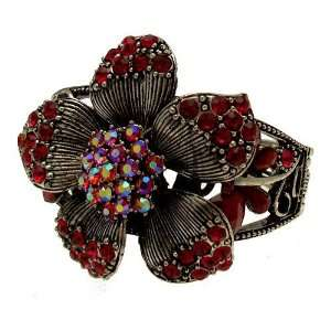 Acosta Jewellery   Red & AB Crystal with Bead   Vintage Inspired Large