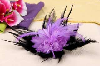 Purple Black Feather Bead Corsage Brooch Pin Hair Clip Flower