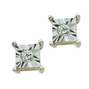 14k Gold Plated Sterling Silver Diamond Accent Stud Earrings Jewelry