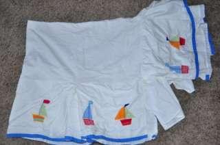 20 Piece Lot Pottery Barn Kids Baby Boats Nursery Crib Bedding Set EUC