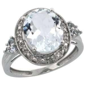 10k White Gold Stone Ring w/ 0.02 Carat Brilliant Cut Diamonds & 1.75
