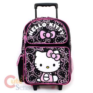 Shcool Backpack Lunch Bag Black Pink Glittering Face Rolling 1