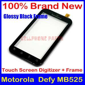 Screen Glass Digitizer + Glossy Black Frame For Motorola Defy MB525