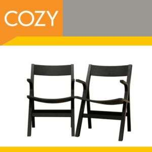 Designer Mid Modern Black Wood Dining Room Arm Chairs 2