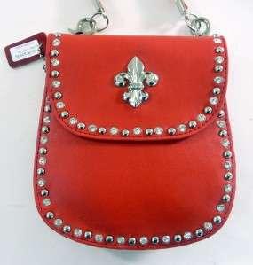 Red Leather Fleur de Lis Cocktail Rhinestone Shoulder Handbag Bag