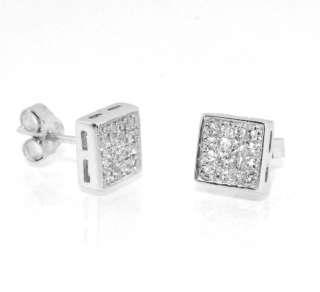 MENS Diamonique CZ Flat Square Pave Stud Earrings 925 Sterling Silver