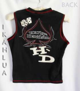 HARLEY DAVIDSON Embellished Dice T Shirt Top S Ladies Black