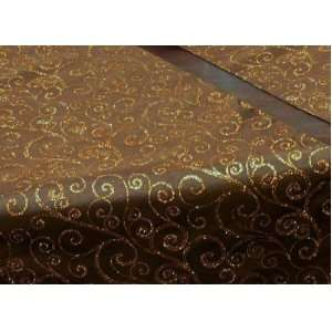 72 Long Chocolate Brown Satin Table Runner with Gold