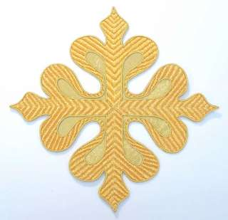 Large, Hand Embroidered Applique. Gold Cross. 7¾""
