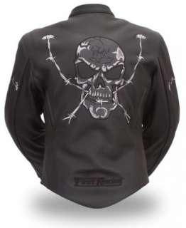 Black Leather Racing Jacket w Reflective Skulls Zip Out Liner