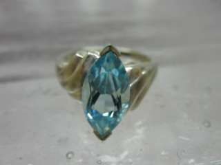 Vintage 925 Silver Thailand Ring Light Blue Stone, Topaz Aquamarine