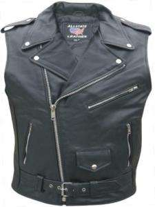 Mens CLASSIC REBEL BIKER Black Leather SLEEVELESS MOTORCYCLE Jacket