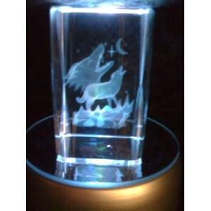 Laser Etched Crystal Cube Wolves