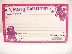 "Christmas 3"" x 5"" Blank Recipe Cards   NEW"