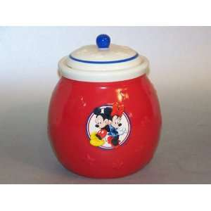 Disney Mickey Mouse Minnie Mouse Red Ceramic Cookie Jar
