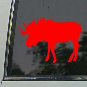 Bull Moose Hunting Red Decal Car Truck Window Red Sticker