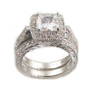 Antique Estate Style White Gold Sterling Cz Wedding Engagement Ring