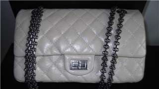 AUTHENTIC CHANEL MEDIUM CLASSIC RABAT FLAP PEWTER QUILTED LEATHER BAG