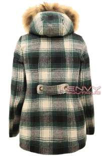 NEW WOMENS LADIES BELTED DUFFLE CHECKED QUILTED PADDED FUR HOODED