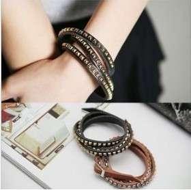 Fashion style Multi Wrap Stud Skinny Bracelet 3 Color