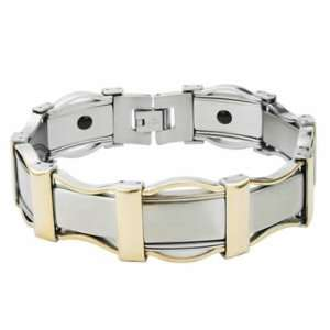 Awesome Stainless Steel Link Bracelet With Gold PVD and