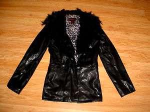 VINTAGE GOTH PVC PLEATHER BLACK FAUX FUR JACKET COAT M