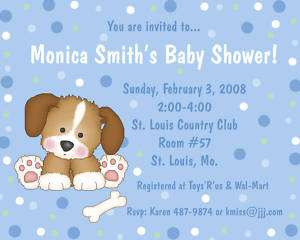 20 Personalized Baby Shower Invitations NEW BLUE PUPPY