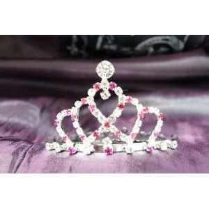 Princess Bridal Wedding Tiara Crown with Hot Pink Crystal
