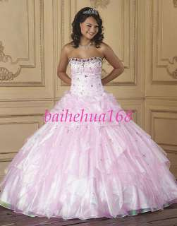 Pink organza&beading Wedding Dress Prom Ball Gowns New