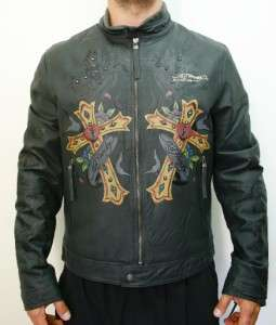Ed Hardy Christian Audigier Mens Biker Cross Motorcycle Lamb Leather