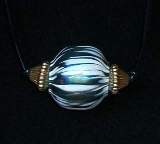 LARGE MULTI COLOR IRIDESCENT WHITE PENDANT NECKLACE